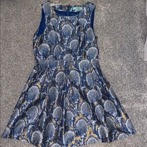 Blue and gold cocktail dress